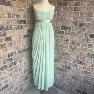EUC BILL Levkoff Pleated Strapless Gown Mint 6